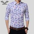 2017 hombres recién llegado camisa impreso de manga larga de negocios casual brand clothing camisa masculina sociales masculina más tamaño 5xl n697