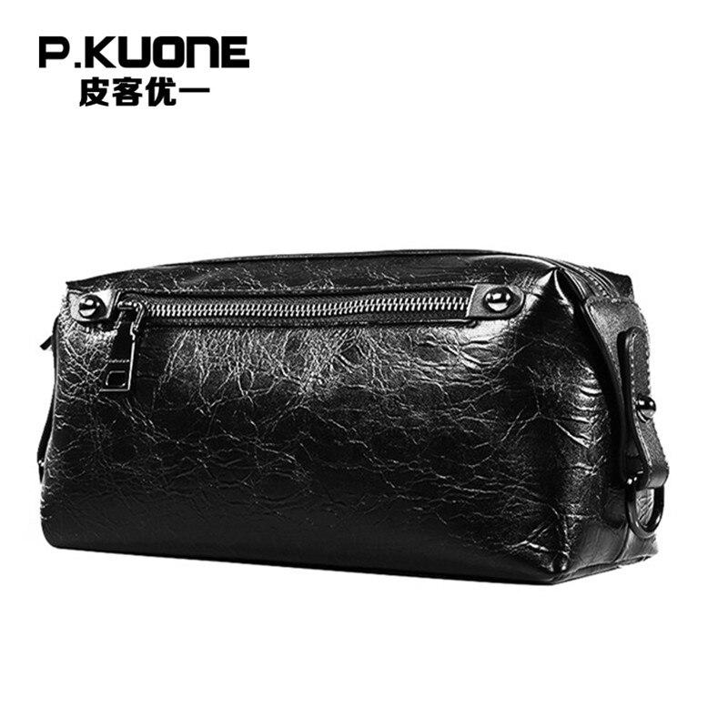 P.KUONE PU leather Men Clutch Bag Bussiness Handbag Wallet Designer Card Position Famous Brand Zipper Big Capacity Good Quality
