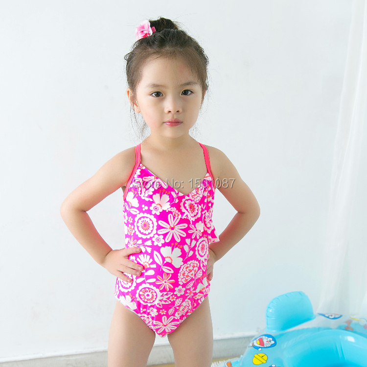 a17ecb2410 Lovely Pink Baby Kids Swimsuit Quality Girls Swimwear Teenagers One ...