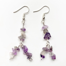 Crystal Purple Quartz Stone Chips Beads Earrings Dangle Healing Crystals Pendant Earrings Stones and Crystals Bulk Dropship цена 2017