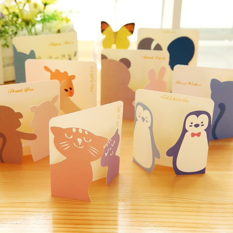 8pcs/lot Creative Cute Little Animals Greeting Cards