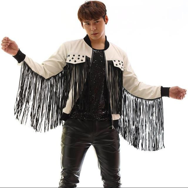 Black white patchwork tassel leather jacket men rivets coat clothes jaqueta de chaqueta cuero hombre korean singer dance stage