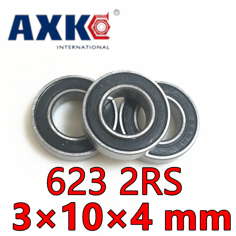 Axk Abec-5 623-2rs Miniature Radial Ball Bearing 623 2rs 623rs Rubber Sealed Deep Groove Ball Bearings 3*10*4 Mm  abec 5 10pcs 696zz 6x15x5 mm miniature ball bearings 696 thin wall deep groove ball bearing 6962z 6 15 5mm fo 6mm shaft