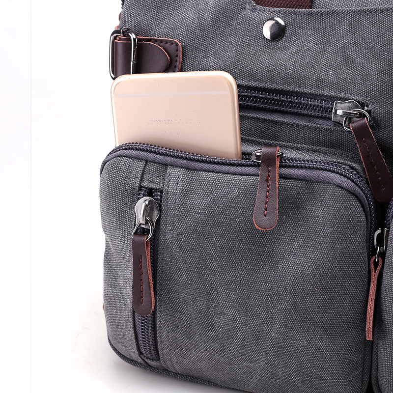 Image 5 - Men Handbags Canvas Shoulder Crossbody Messenger Bags Solid High Capacity Man Casual Travel Multifunction Back Pack Laptop 2018-in Shoulder Bags from Luggage & Bags