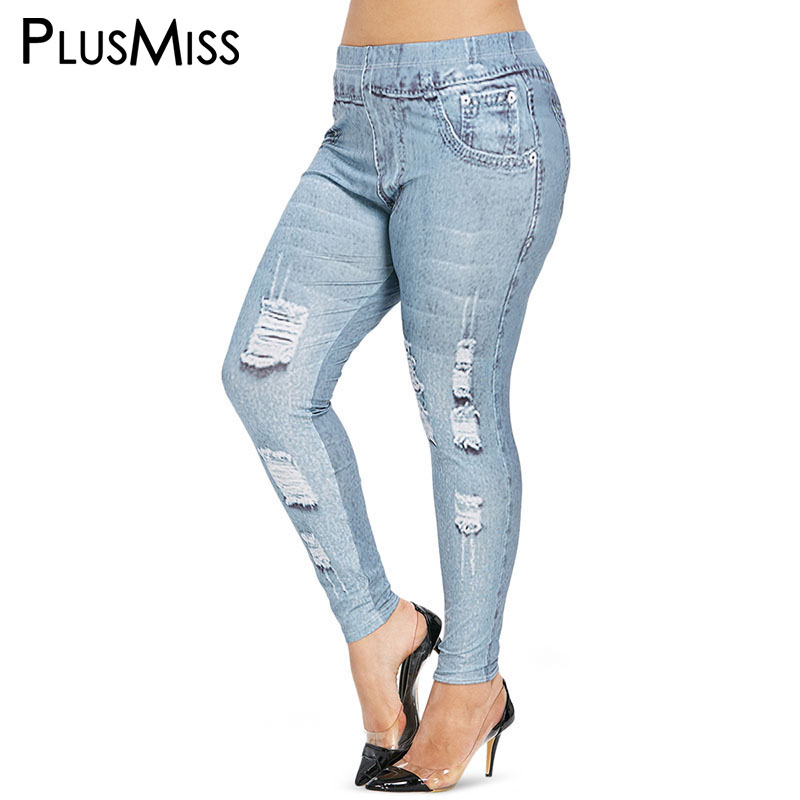 PlusMiss Plus Size 5XL 3D Jeans Printed   Leggings   Ladies Large Size Skinny Jeggings XXXXL XXXL XXL Women Leggins Fitness Legins