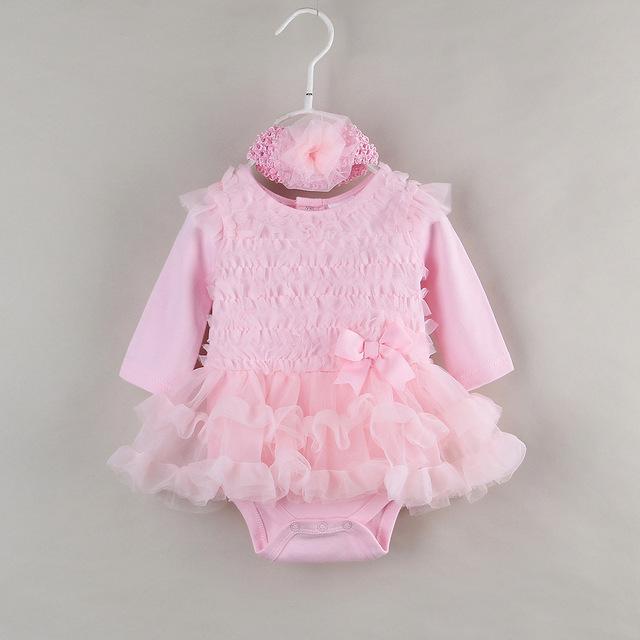 Ratail Rromper Bebé Niñas de Manga Larga de Algodón Rosa de Encaje TUTU Vestido de Ropa de Bebé de 1 Año Niña de Cumpleaños Vestido ABB-1510