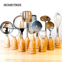 HOMETREE 12Pcs/Sets Stainless Steel Wooden Handle Cooking Tools Sets Shovel Spoon Opener Paring Knifeset Kitchen Gadhets H946