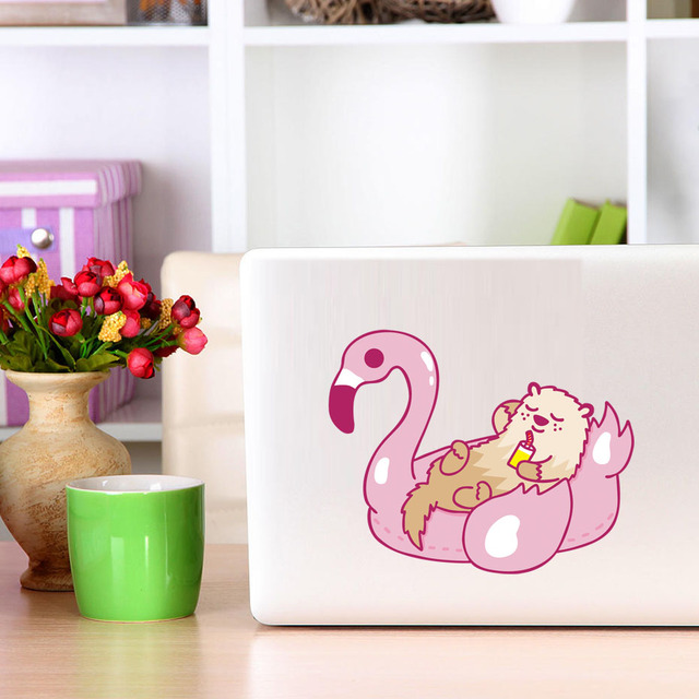 Colorful flamingo and otter car bumper vinyl sticker pool party wall decals laptop decal removable waterproof