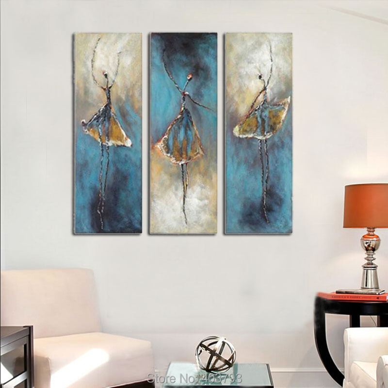 Dancing Girls Modern Extra Large Decorative Pictures 3 Panels Abstract 100% Hand Painted Oil Painting Canvas Wall Art Home Decor