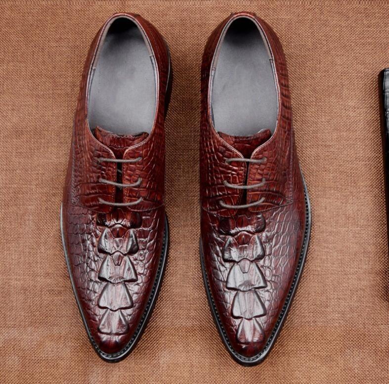 Genuino Patrón En Bajo Los Aumento Vestir Cocodrilo Punta Black Altura Pies Cordón Zapatos Hombres chocolate La Tacón Cuero De Casuales BfqAA4