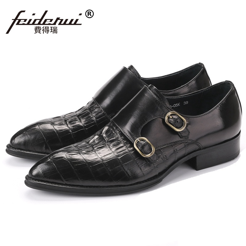 Italian Style Crocodile Man Formal Dress Monk Strap Shoes Genuine Leather Male Party Oxfords Pointed Toe Men's Bridal Flats CE79 2016 new fashion genuine leather formal brand man print oxfords men s derby pointed toe monk strap dress rubber shoes glm589