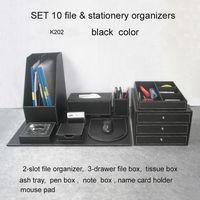 10PCS /set wood leather office desk file stationery accessories organizer pen holder desktop cabinet drawer writing board K202A