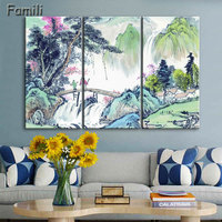 3 Panel Ancient Chinese Brush Painting Print Canvas Lotus pond Koi Fish Art Picture For Living Room Study Wall Decors No Frame