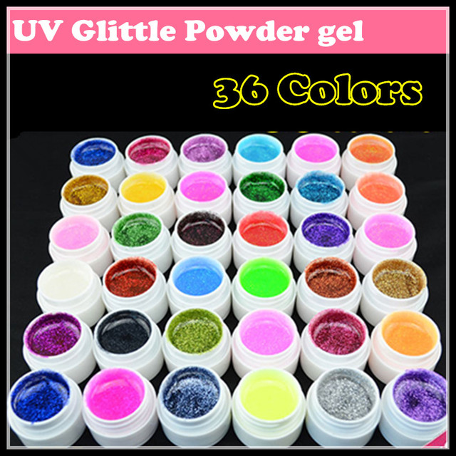 Hot sale! Wholesale price New 36 Colors Nail art UV Glitter Powder Gel UV GEL Shimmer Colorful Nail Gel 5g/bottle, Free shipping