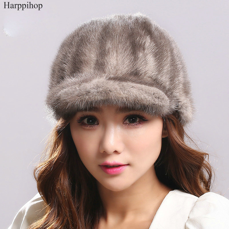 Harppihop 2017 nouveau gros femmes chapeau d'hiver femme arrière vison chapeau avec court bord avant mode chapeau marque automne chaud visières