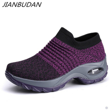 JIANBUDAN/ Breathable lightweight Womens sneakers New 2019 Knitted mesh beach shoes Casual comfortable fitness 35-42 size
