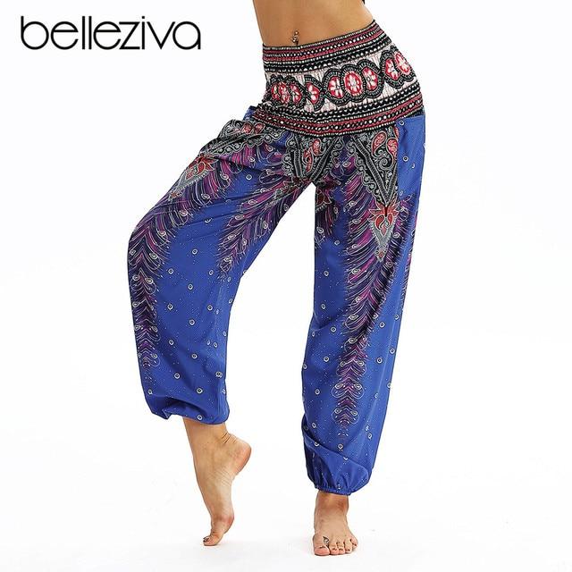 66c400dd57 Belleziva Women Loose Peacock High Waist Yoga Pants Printed Indian Style  Outdoor Harem Pants Ladies Hippie