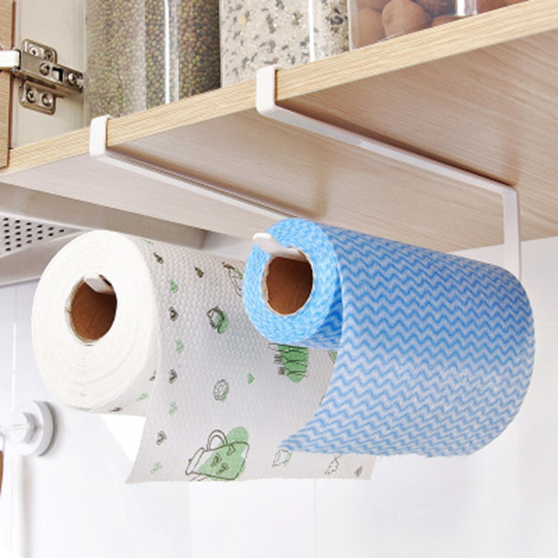 Iron Metal Kitchen Tissue Holder Hanging Toilet Roll Paper Holder Towel Rack Kitchen Bathroom Cabinet Door Hook Holder Organizer