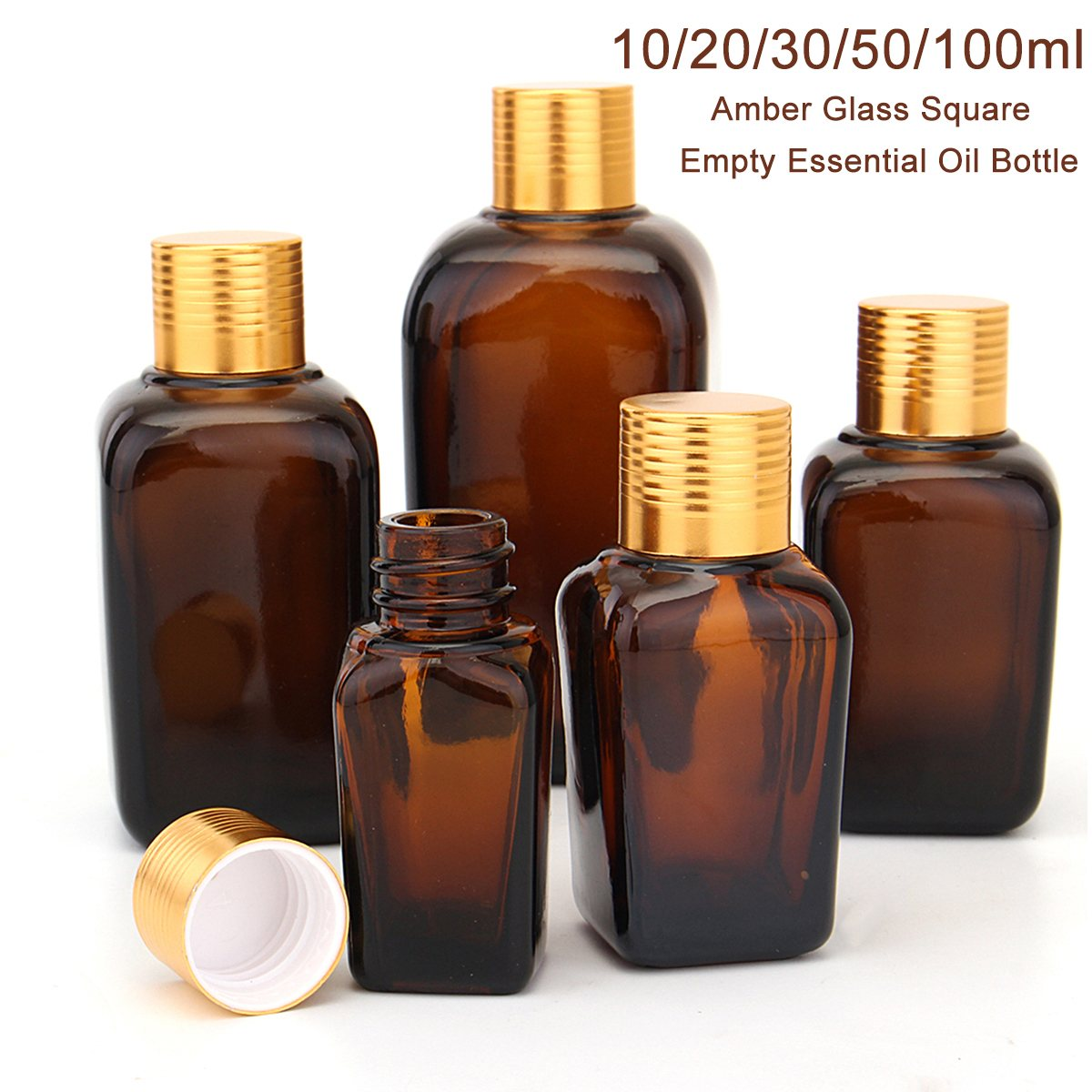 5PCS Square Empty Amber Glass Bottles 10/20/30/50/100ml Essential Oil Refillable Bottle Pot Portable Travel Body Cream Container