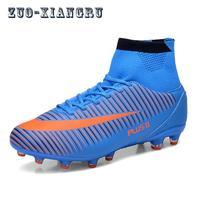 ผู้ชายรองเท้าฟุตบอลฟุตซอลในร่มรองเท้าที่มีถุงเท้ามืออาชีพเทรนเนอร์TFรองเท้าฟุตบอลสูงข้...