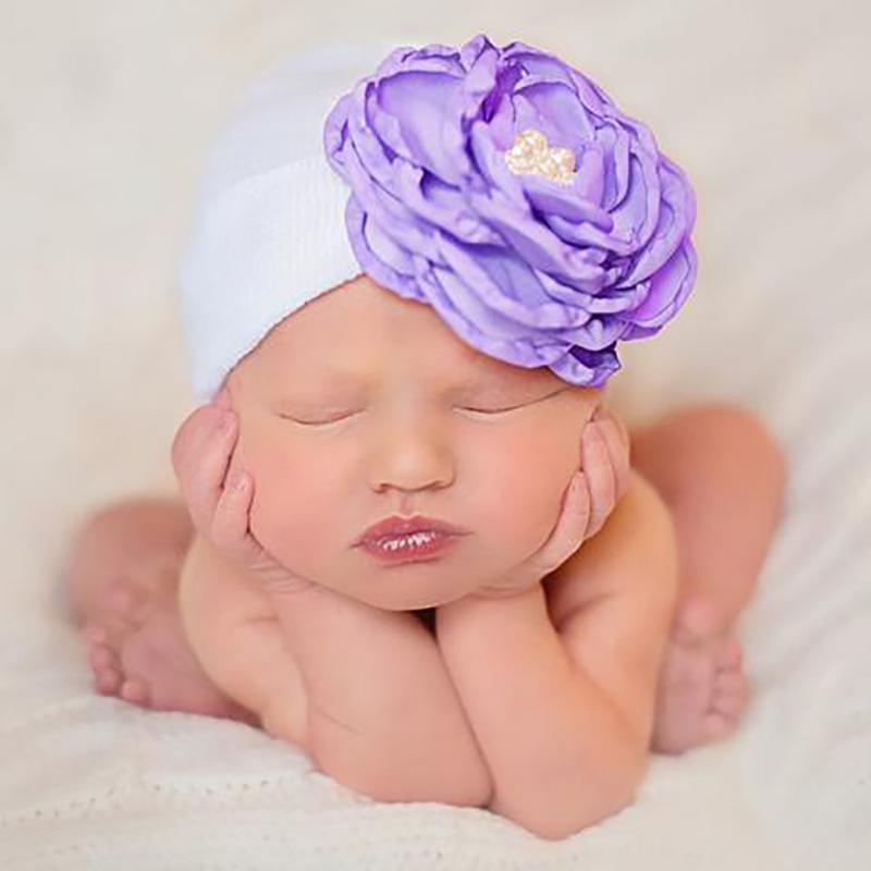 2018 New Fashion Baby Newborn Girl Infant Toddler Cute Flower Beanies Cute Hat Hospital Cap