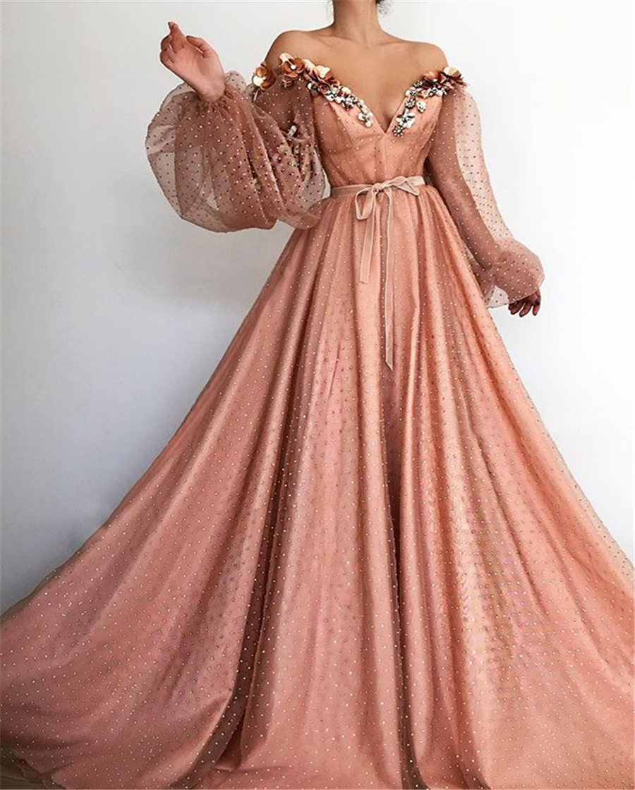 Chic Sparkly Off the Shoulder Pearl Pink Long Sleeves With Beading Prom Dress Modest Open V-neck Evening Gowns