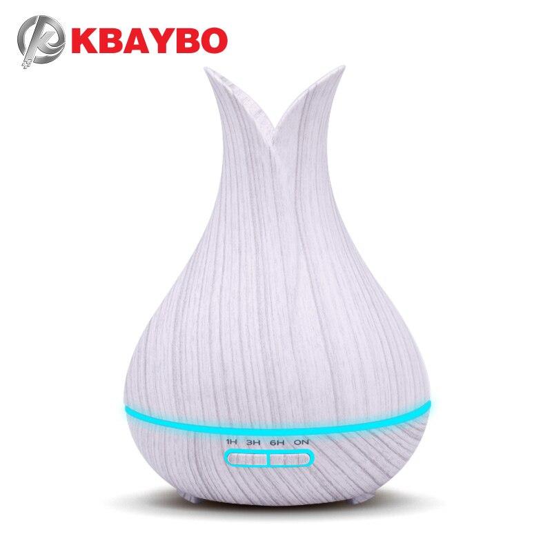 KBAYBO 400 ml humidificateur d'air Aramo diffuseur d'huile essentielle avec 7 couleurs LED veilleuse blanc Grain de bois froid brumisateur pour la maison