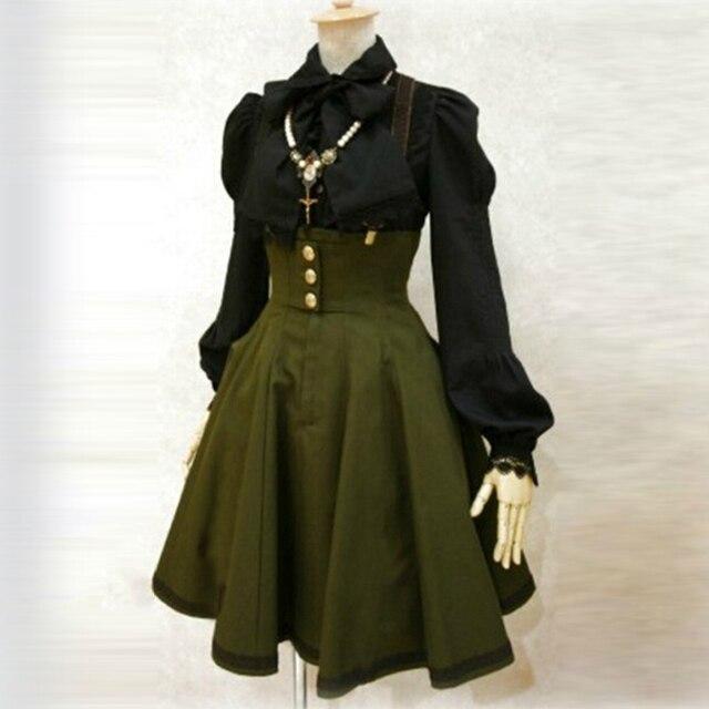 2018 as mulheres Se Vestem de outono verde do exército vestido de alça Mulheres Goth Gothic Vestido A Linha de Moda Vestido Goth do vintage