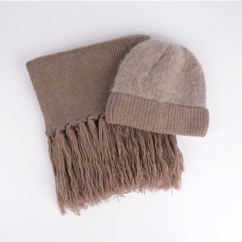Winter Knitted Rabbit Wool Hat Women Warm Middle-aged Mother Soft Scarf Female Fashion Pure Color Comfortable Beanies Hats H7170