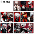 10 pcs/lot Tokyo Ghoul Card Sticker Classic Toys Anime Kaneki Ken Kirishima Bank Bus ID Card Stickers Kids Birthday Party Gift