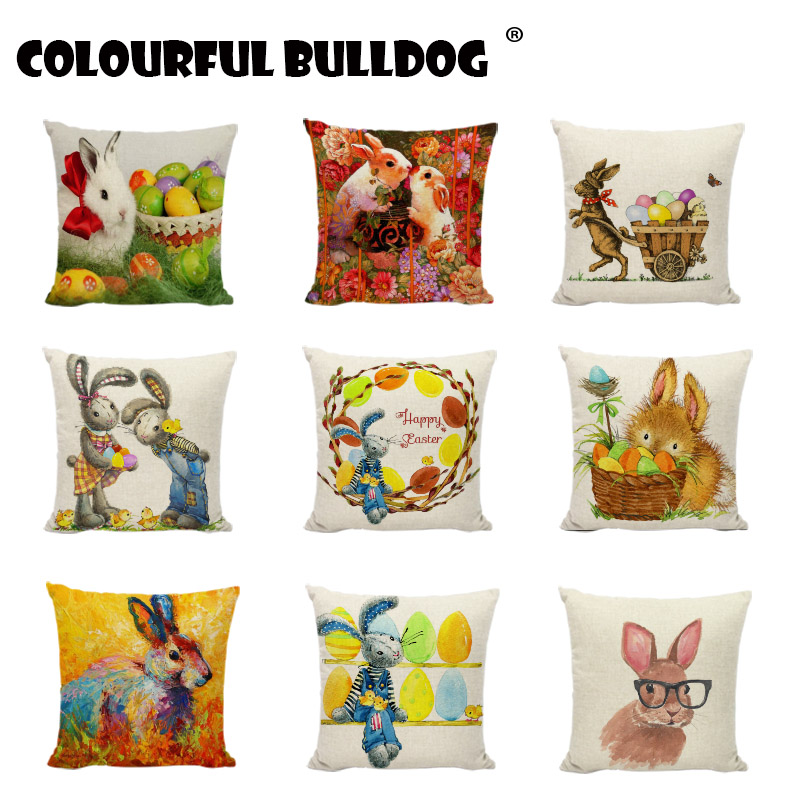 Happy Easter Smiling Bunny Have A Nice Day Rabbit Home Cotton Linen Throw Pillow Cases Personalized Cushion Covers Animal Office