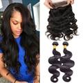 Ms lula cabelo 360 malaio rendas frontal onda do corpo do cabelo virgem 360 Laço Frontal Com Pacote Pré Arrancadas 360 Frontal Com Feixes