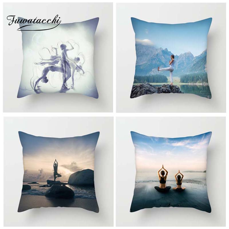 Fuwatacchi Yoga Sport Style Cushion Cover Beauty Lake Sunrise Oceanside Printed Pillow Decorative Pillows For Sofa Car