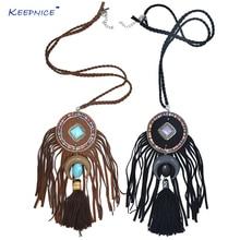 New Boho chic beads moon crescent pendant necklace black cotton Tassel pendant leather fringe stone pendent Necklace