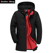 Brand Men Clothing Winter New Down Jacket Fashion Slim Hooded Thick Warm White Duck Down Long Coat and Parka Male 5XL 6XL
