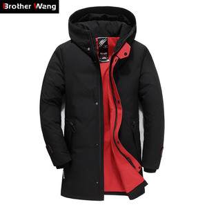Image 1 - Brand Men Clothing Winter New Down Jacket Fashion Slim Hooded Thick Warm White Duck Down Long Coat and Parka Male 5XL 6XL