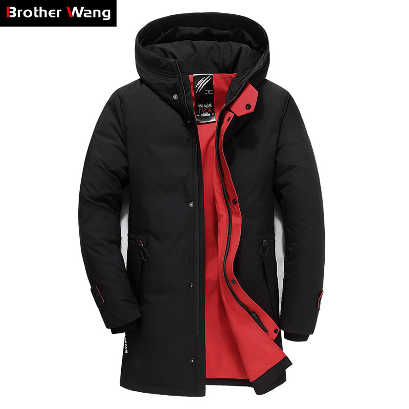 Brand Men's Clothing 2019 Winter New Down Jacket Fashion Casual Slim Hooded Thick Warm White Duck Down Long Coat Male