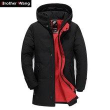 Marka mężczyźni odzież zimowa nowa kurtka puchowa moda Slim gruby kaptur ciepła biała kaczka puchowa, długa kurtka i kurtka męska 5XL 6XL