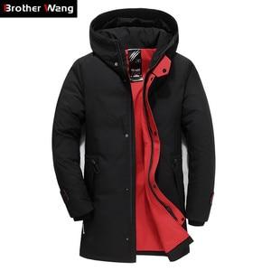 Image 1 - מותג גברים בגדי החורף חדש למטה מעיל האופנה Slim ברדס עבה חם לבן ברווז למטה ארוך מעיל Parka זכר 5XL 6XL