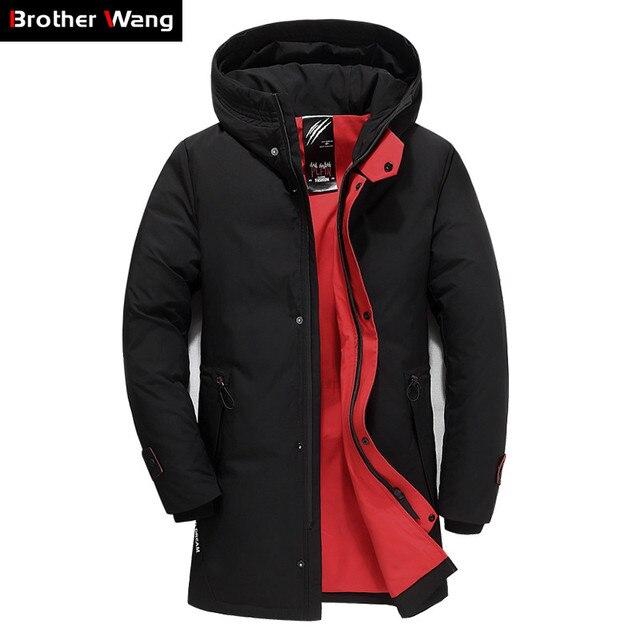 מותג גברים בגדי החורף חדש למטה מעיל האופנה Slim ברדס עבה חם לבן ברווז למטה ארוך מעיל Parka זכר 5XL 6XL