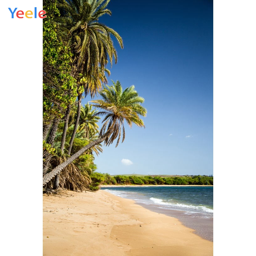 Yeele Seaside View Beach Coconut Palm Tree Tropical Photography Backgrounds Personalized Photographic Backdrops For Photo Studio