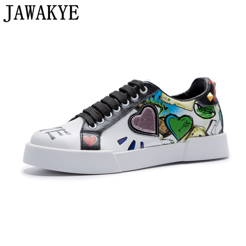 Coloured drawing lover heart decor casual shoes women lace up platform rivets flat heel sneakers for