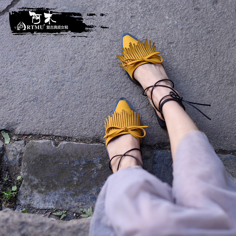 Artmu Original New Fringe Butterfly-knot Sandals Genuine Leather Strap Flat Two Ways to Wear Handmade Slippers 683-5 2018 new high end leather comfortable feet sandals classic sandals handmade leather slippers handmade leather slippers