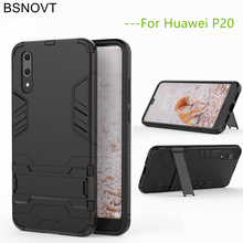 BSNOVT For Huawei P20 Cover Soft Silicone + Plastic Kickstand Back Case Shell Phone Fundas 5.8