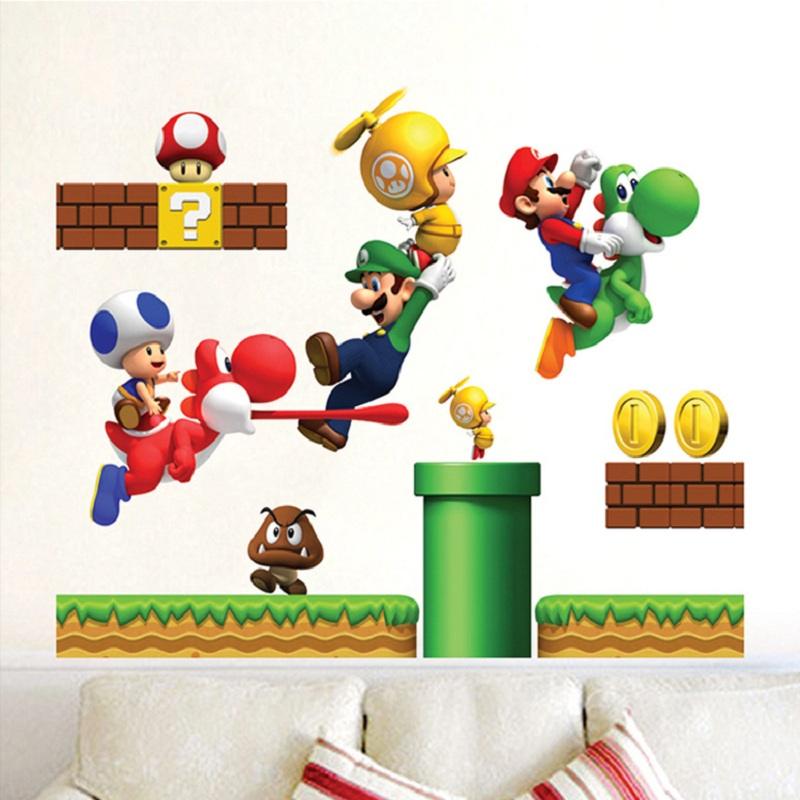 Removable DIY Super Mario Bros Wall Sticker Decals Mural for Kids Room Bedroom Home Decor Wallpaper
