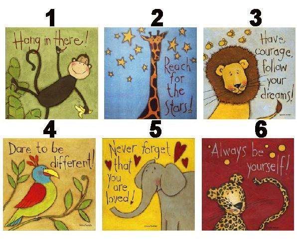 6 Piece Cartoon Animal Canvas Painting Printings Modern Wall Art ...