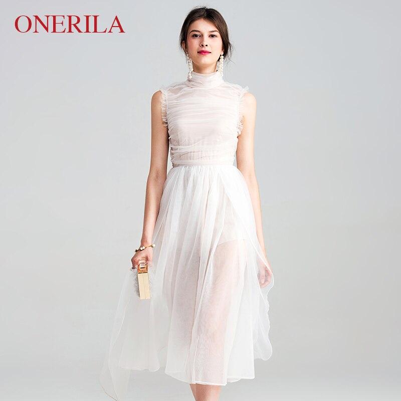 48c0de646982 ONERILA High-Necked Sleeveless White Lace Dress Empire Waist Mid Length  Dresses Elegant Women Party Wedding 2018 Early Autumn