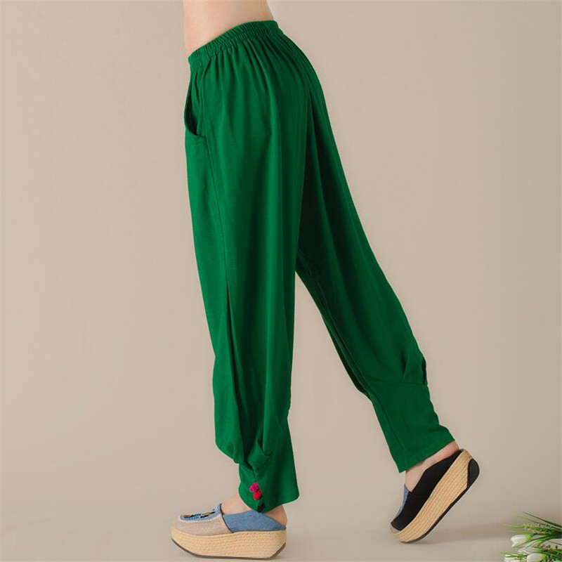 2XL National Style Cotton Linen Casual Loose Vintage Trousers With Buttons Women Summer Spring Fashion 2018 Panelled Harem Pants
