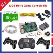 52Pi 2017 Raspberry Pi 3 Modelo B 32 GB RetroPie Juego Kit con Controladores Gamepad Inalámbrico fuente de Alimentación 5.1 V 2.5A Cargador adaptador