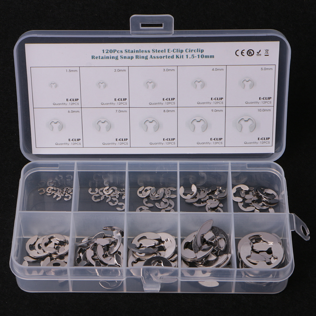 304 Stainless Steel E-Clip Retaining Assortment Kit 1.5mm to 10mm 120Pcs  \\